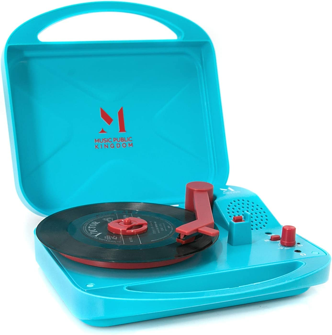 Record Player, Mini Portable Battery Operated Travel Suitcase Turntable for 7 Inch Vinyl Records, 2 Speed, Headphone Jack, Built in Speaker, 4 AA Battery Powered (Blue)