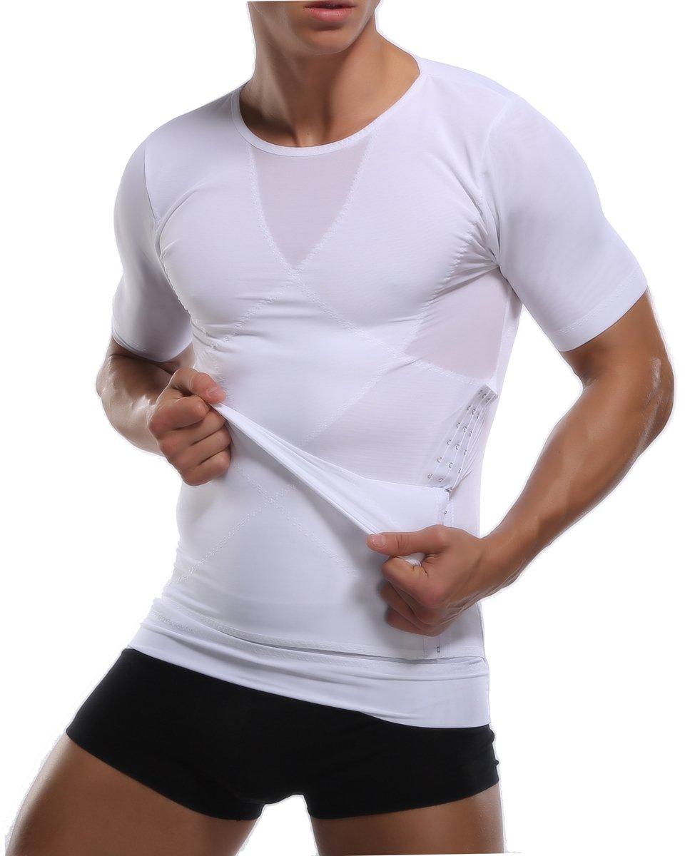 MissTalk Mens Body Shaper, Tummy Waist Slimming Shirt Compression Shirt Underwear(M,White)