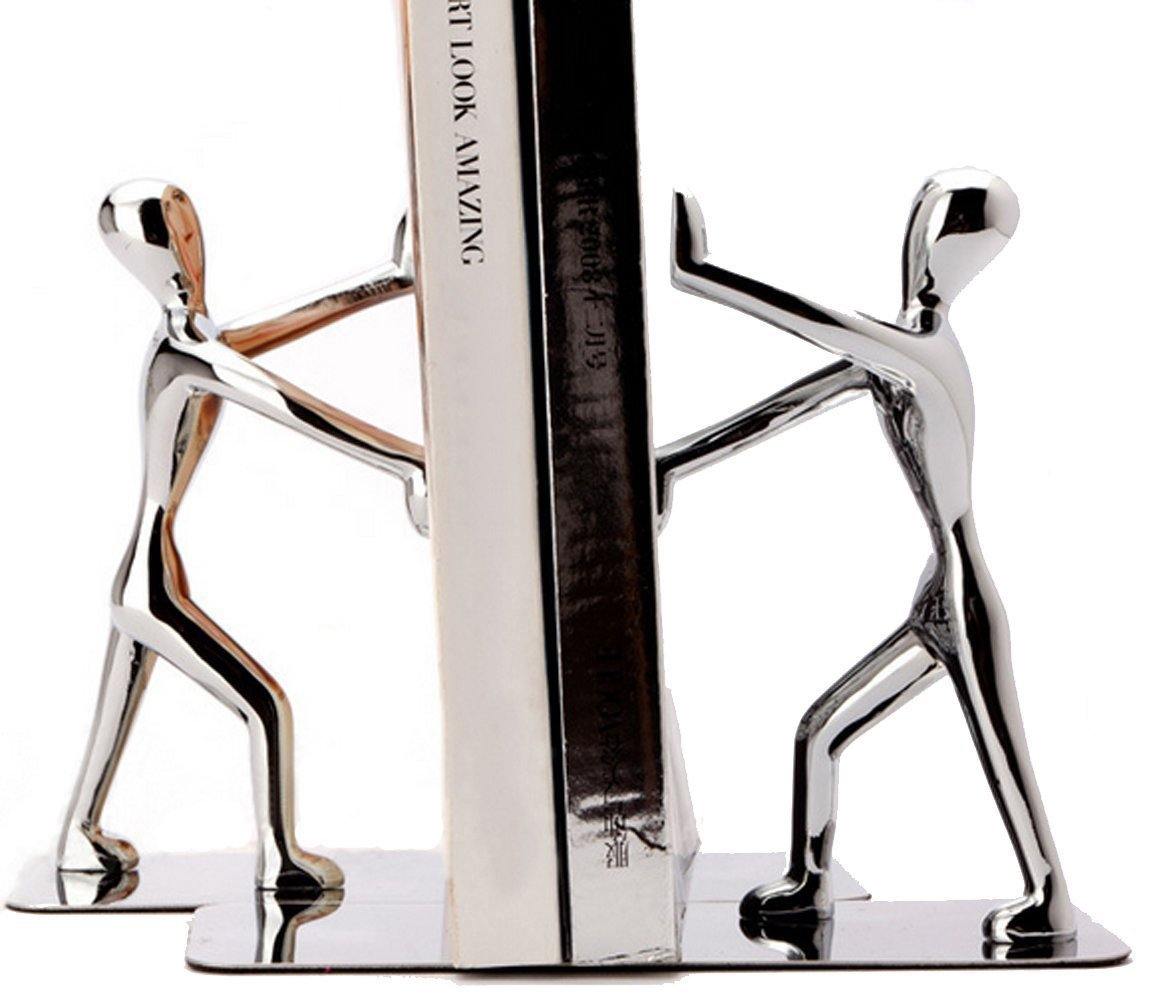 Fasmov Heavy Duty Stainless Steel Man bookends Nonskid Bookends Art Bookend,1 Pair by Fasmov