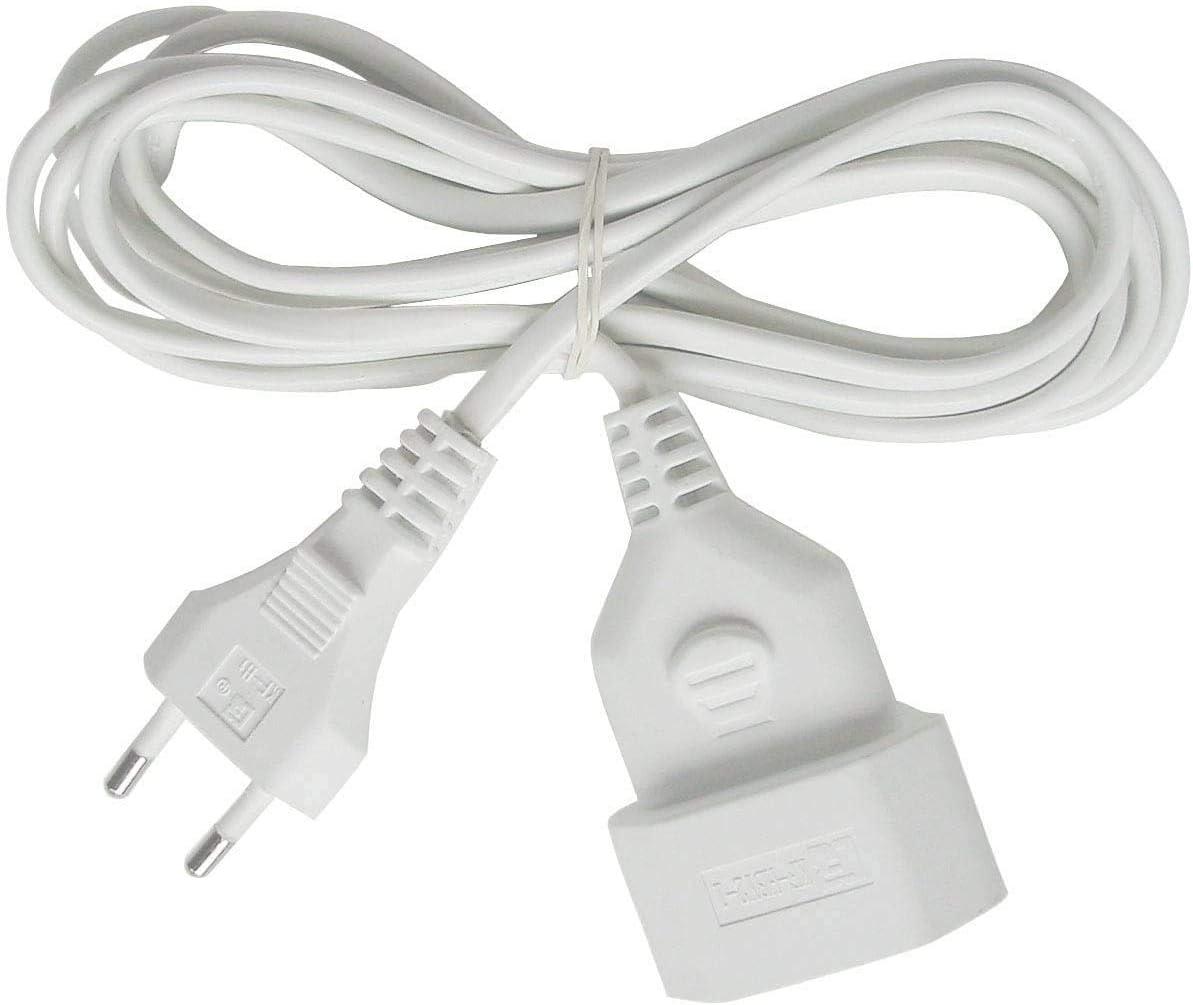 Brennenstuhl cable alargador de corriente de enchufe plano tipo euro (enchufe europeo, para interiores, cable plano de 5 m) blanco