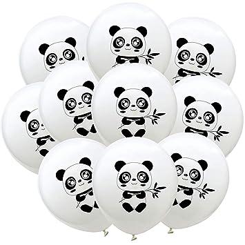 Bestoyard 10pcs Ballons De Baudruche En Latex Rond En Motif De Panda Animale Pour Fete Parti Decoration De Fete Anniversaire Blanc 12 Pouces