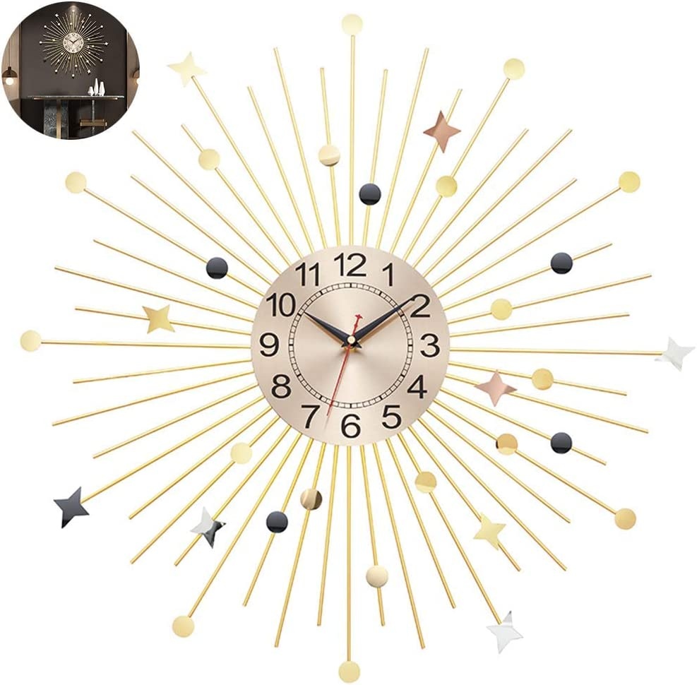 AMYZ 23 in Dream Star Style Wall Clock for Living Room,3D Metal Sunburst Decor Large Clocks,Home Wall Watches Silent Non Ticking Modern Quartz Decoration Clock,Gold,60cm