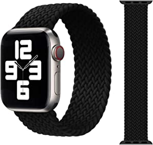 ZHONGGOZZ Braided Solo Loop Strap for Apple Watch Band 44mm 40mm 38mm 42mm Nylon Elastic Belt Bracelet for iWatch Series 6 SE 5 4 3 (Color : Black, Size : S(42mm-44mm))