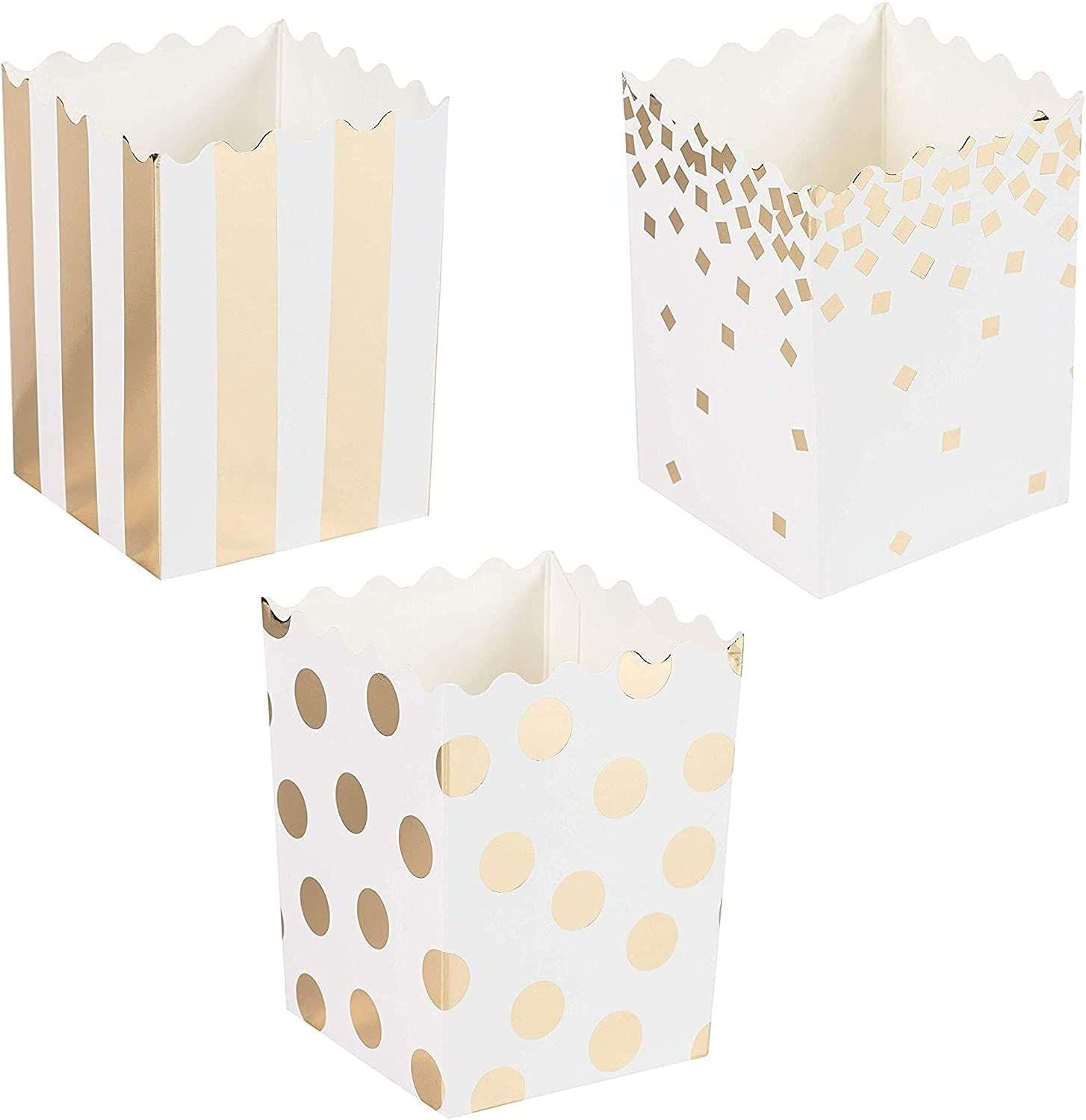 60-Pack Mini Popcorn Boxes - 16oz Small Paper Popcorn and Candy Favor Boxes, Gold Foil Polka Dots, Stripes, Confetti Designs, Baby Shower, Wedding, Birthday Party Supplies, 3 x 4 x 2.8 Inches