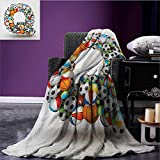 Letter Q emergency blanket Typographic Letter Font Design with Various Gaming Balls Athletic Kids Teamplay Print Multicolor size:59''x35.5''