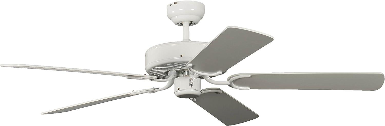 Pepeo Potkuri ventilador de techo sin luz, carcasa en blanco lacado, aspas reversibles blancas o blancas con insertos de ratán, 132 cm, para habitaciones de hasta 25 m²