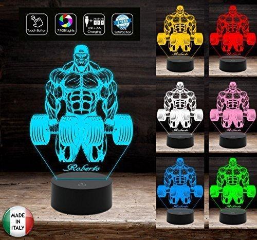 Lampada bodybuilding Culturismo bodybuilder Idea regalo compleanno inaugurazione palestra 7 colori a led con nome personalizzabile da tavolo o scrivania