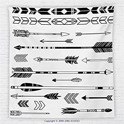 59 x 59 Inches Arrow Decor Fleece Throw Blanket Cute Indie Ethnic Western Indian Arrows Traditional Aztec Tribal Culture Print Blanket Black White