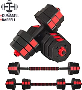 SOSUSHOE Adjustable Dumbbells Set to 44Lbs, Free Weight Set for Men and Women Home Weight Set Fitness Barbell Set with Connecting Rod Gym Workout Exercise Training
