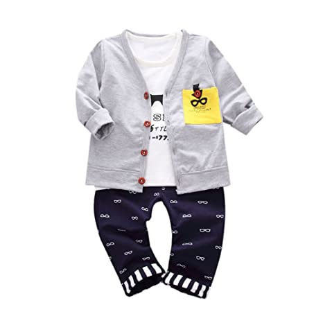 feiXIANG Conjunto de Ropa para niños Ropa de bebé niño Carta Gafas de impresión Camisetas Tops