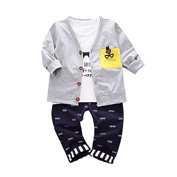 feiXIANG Conjunto de Ropa para niños Ropa de bebé niño Carta Gafas de impresión Camisetas Tops + Pants + Jacket Cardigan Ropa Set 1-5 años: Amazon.es: ...