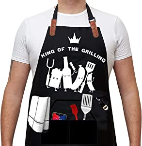 Funny BBQ Grill Apron, Grilling Cooking Baking Apron with Practical Design Fabric and Exquisite Printing, Awesome Gift for Food Lovers!