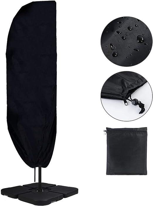 YuDy Funda Protectora para Parasol Impermeable Funda para Sombrilla de Jardín Patio Terraza Diseño de Cierre de Cremallera Recubrimiento Protector Solar -Negro 265cm: Amazon.es: Jardín