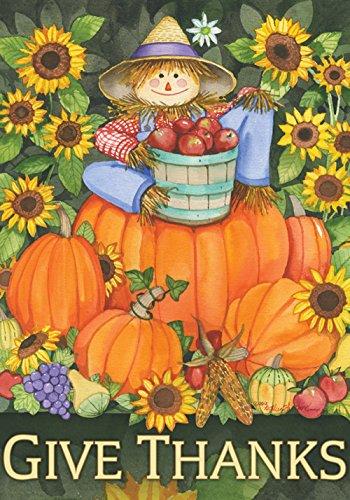 Toland Scarecrow - Toland Home Garden Scarecrow Harvest 28 x 40 Inch Decorative Colorful Thanksgiving Fall Autumn Give Thanks Pumpkin House Flag