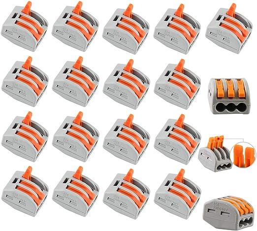 Compact conducteur terminal Block avec 3/ports /à levier /à ressort de fil de c/âble connecteur terminal 400/V 28 12/AWG Lot de 20