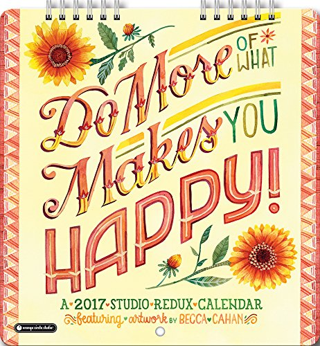 Orange Circle Studio 2017 Studio Redux Mini Wall Calendar, Do More of What Makes You Happy! (14561)