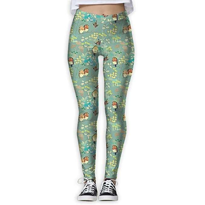 69a0ff5aac5 Women s Bird Butterfly Floral Green Print Sports Gym Yoga Leggings Pants   Amazon.ca  Clothing   Accessories