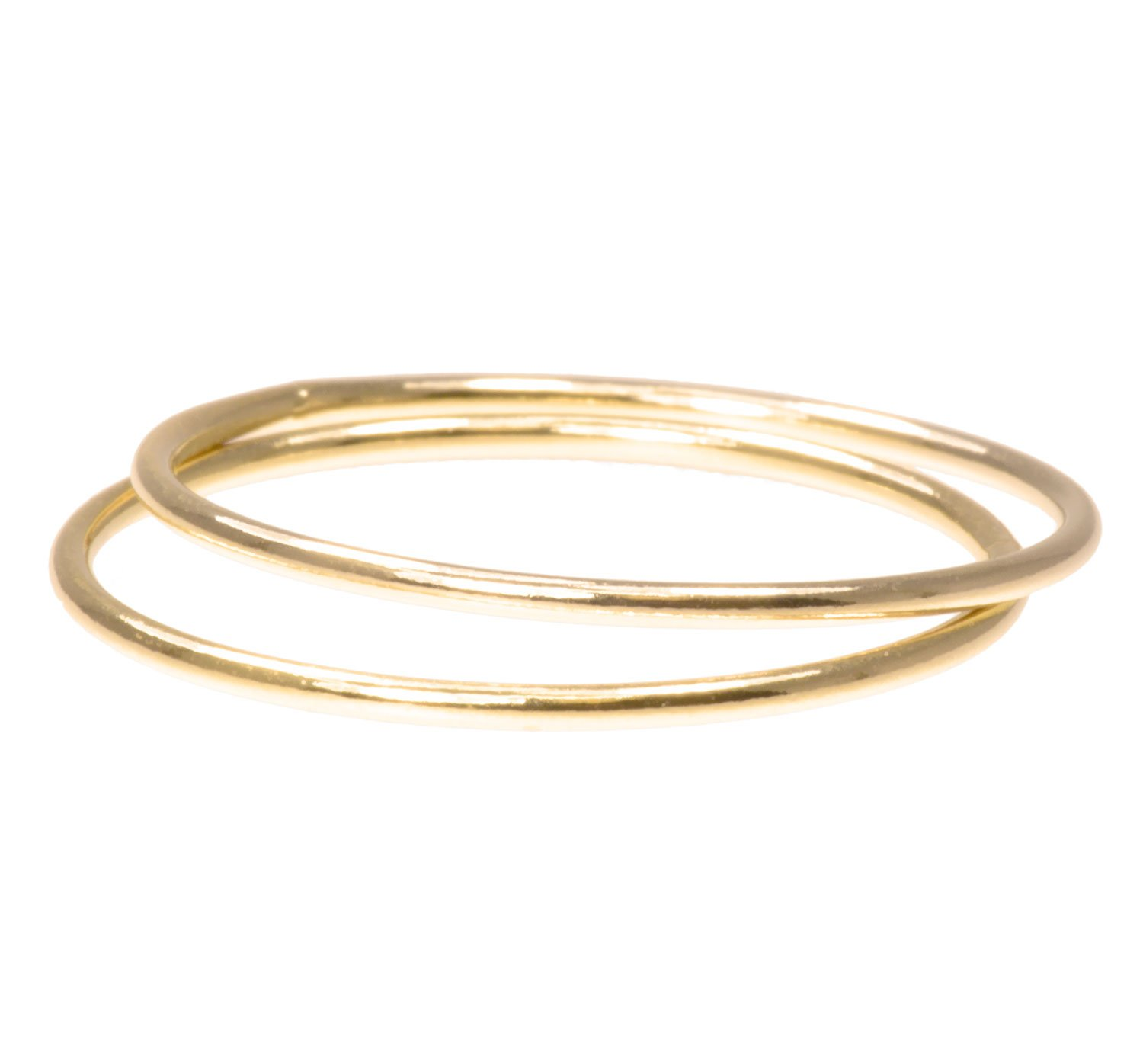 2 14K Gold Filled Stacking Rings 1mm Round Size 6 by uGems