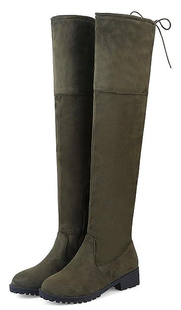 Easemax Damen Elegant Langschaft Overknee Schnürung Nubk Stiefeletten Schwarz 35 EU N5xOrbAoS