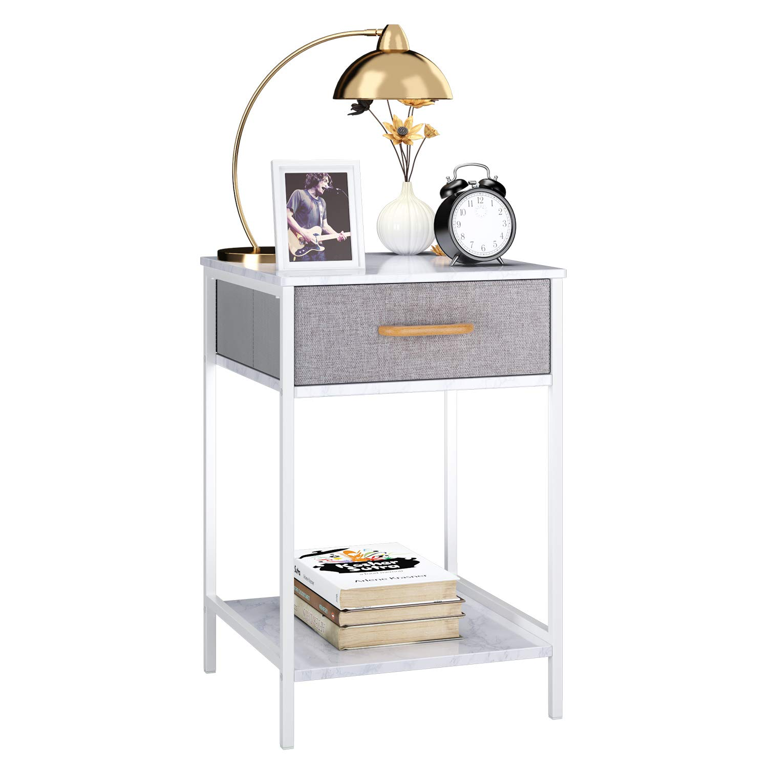 Homfa Nightstand, 2-Tier End Table Side Table with Drawer, Shelf Dresser Storage Organizer and Open Shelf, Accent Table Modern Furniture in Bedroom Home by Homfa