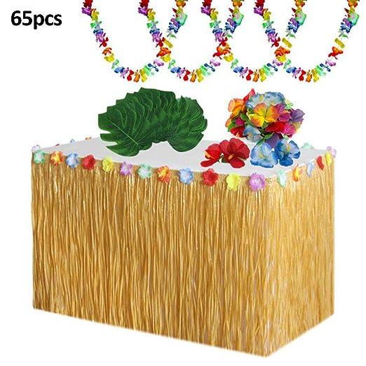 Rubyu Kit de Decoración de Fiesta Hawaiana, Falda de Mesa Luau ...