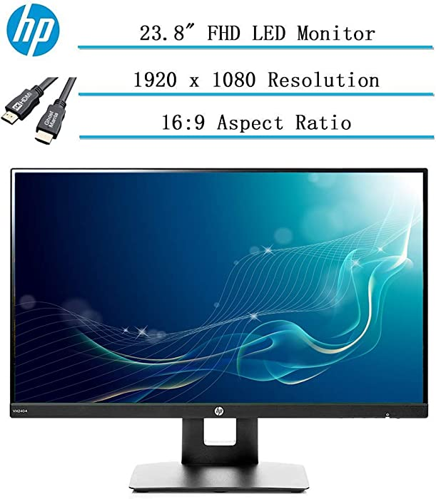 """Newest HP 23.8"""" Full HD (1920x1080) IPS LED PC Computer Monitor for Business Student, Build in Speaker, VESA Mounting, Tilt, HDMI, VGA, 5ms, 16:9 Aspect Ratio, 178°, w/Ghost Manta 4K HDMI Cable"""