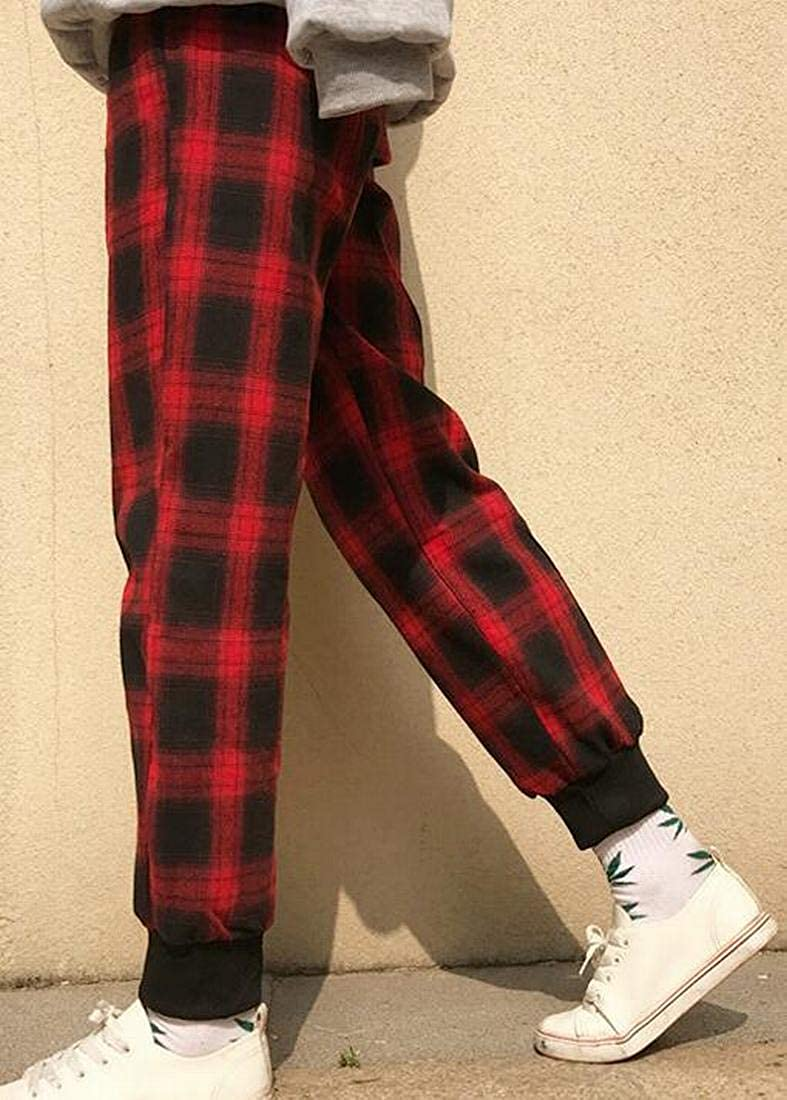 Nanquan Men Sport Casual Running Sweatpants Plaid Print Jogger Pants