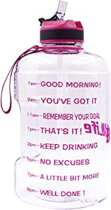 QuiFit Gallon Water Bottle with Straw and Motivational Time Marker BPA Free Easy Sipping 128/73/43 oz Large Reusable Sport Water Jug with Handle for Fitness and Outdoor Enthusiasts