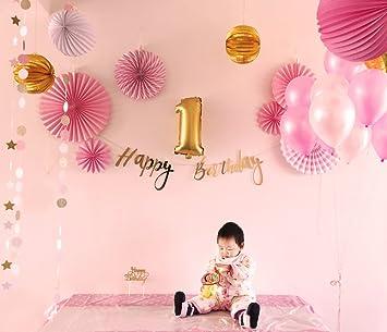 Easy Joy Gold Rosa Weiss Geburtstag Deko Set Pastellfarbe Dekor Happy