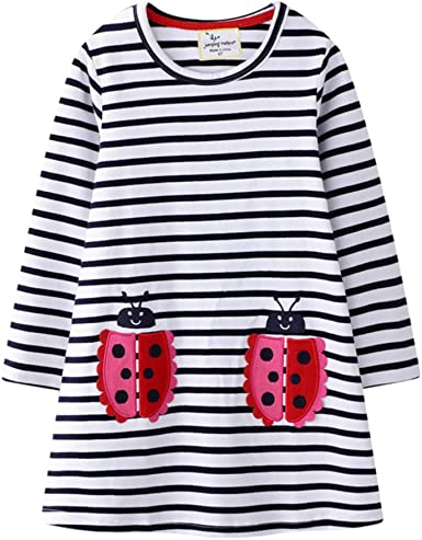 Vestido Niña Vestidos Bebé Niñas, Vestido Casual de Manga Larga Vestido Princesa Algodón de El otoño Ropa 1-7 años: Amazon.es: Ropa y accesorios