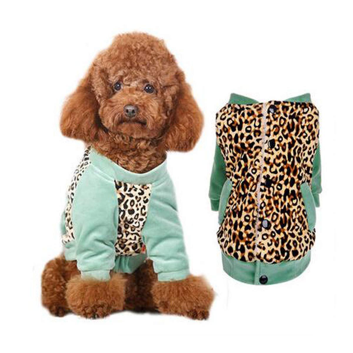 Leopard print L Leopard print L Autumn and Winter Clothes for pet Puppies (color   Leopard Print, Size   L)