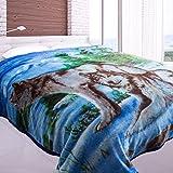 Jml Heavy Duty Korean Mink Blanket - 4.9 lb Soft Warm Plush Fleece Bed Blanket for Winter, 85x93 inch(King, Blue&Wolf)