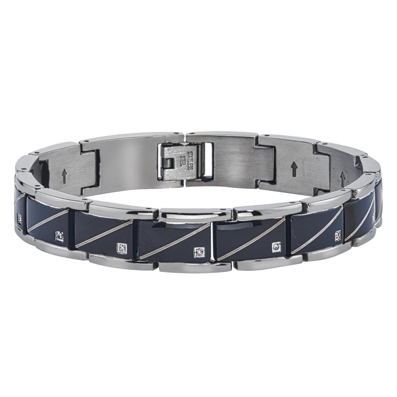 Mens Diamond Accent Diagonal Bracelet (0.10carats, HI I2-I3)