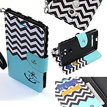 Pure XL Case, BLU Pure XL Wallet Case, SOGA [Pocketbook Series] PU Leather Magnetic Flip Design Wallet Case for BLU Pure XL (2015 Released) - Teal Chevron ...