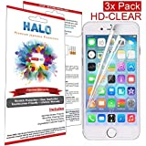 Halo Screen Protector Film High Definition (HD) Clear (Invisible) for iPhone 6 - [3 Pack] - Lifetime Replacement Warranty