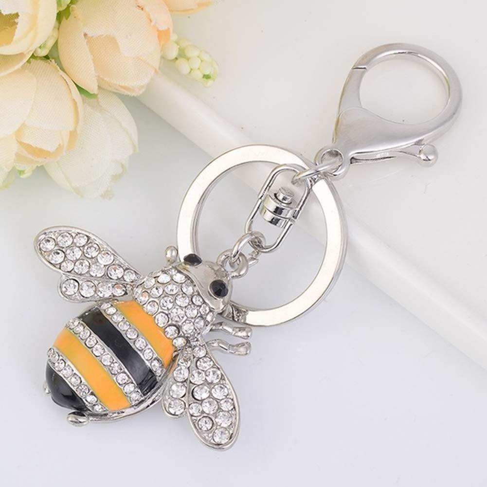 1xToruiwa Key Ring Key Chain Holder Cute Small Bee Key Pendant Key Decorated with Rhinestones Hanging Ornaments Craft for Key Handbag Phone Bag Decoration Gift Gold