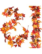 HBlife 2 Pcs Fall Maple Leaf Garland 5.9ft Artificial Autumn Foliage Garland Fall Hanging Vines Plant Thanksgiving Decor for Indoor Outdoor Wedding Party Home Fireplace Halloween Christmas Decorations