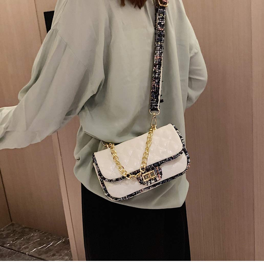 OUSHINA New 2019 High Sense French Niche Net Red Pouch Texture Messenger Bag Wild Shoulder Bag Color : White, Size : 12206cm