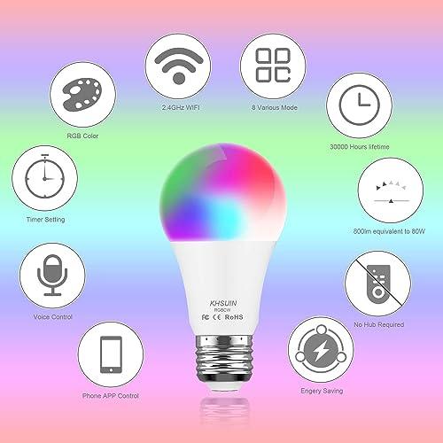 Smart LED Light Bulb - No Hub Required, Smart Bulb Compatible with Alexa Echo Dot, Google Home Mini Samsung, KHSUIN LED Smart Light Bulbs 7W 80W