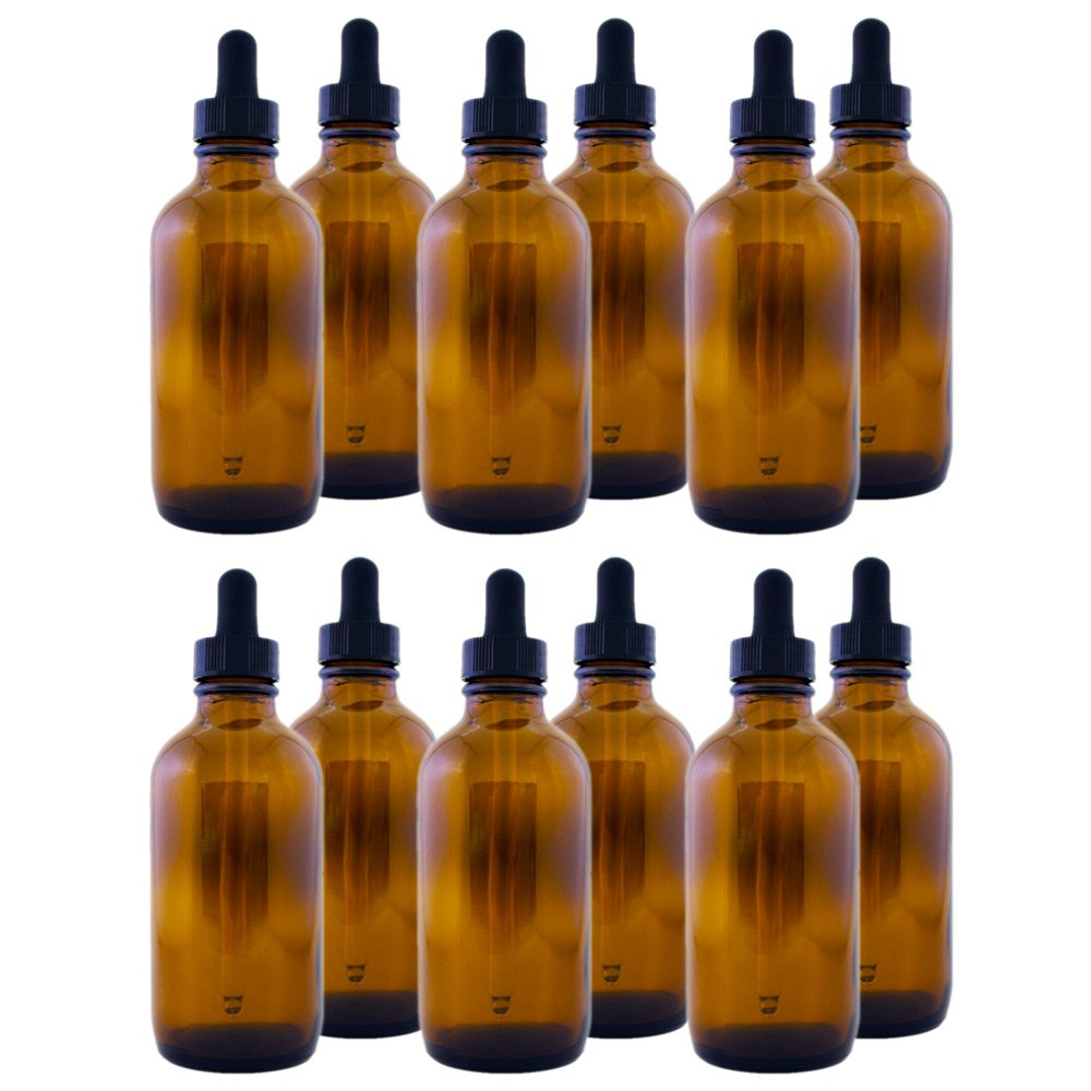 Amber Glass Bottle 4oz with Dropper(12 pack)