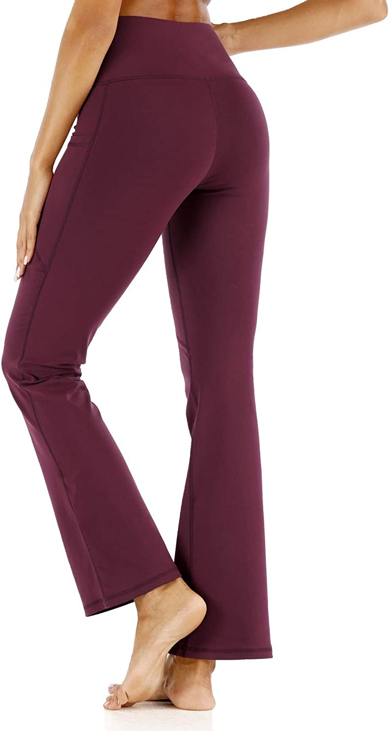 DEATU Womens Boot-Cut Yoga Pants Leggings with 4 Pockets Ladies Tummy Control Workout Pants Work Bootleg Flared Pants