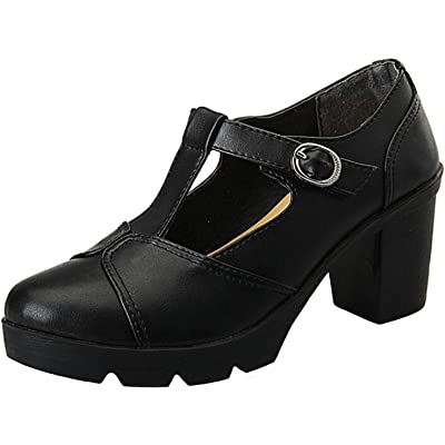 PPXID Women's British Style T-Bar Platform Heeled Oxford Shoes Work Shoes Shoes | Oxfords
