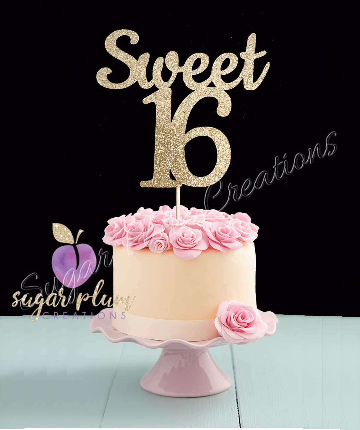 Wondrous Amazon Com Sweet 16 Cake Topper Toys Games Personalised Birthday Cards Veneteletsinfo