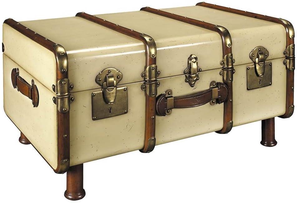 Mesa de centro en forma de baúl antiguo, color marfil.: Amazon.es ...