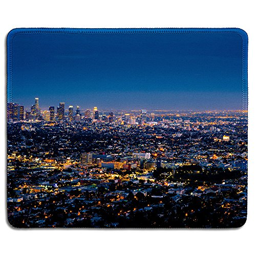 dealzEpic - Art Mousepad - Natural Rubber Mouse Pad Printed with Los Angeles Skyline Cityscape Night View - Stitched Edges - 9.5x7.9 inches