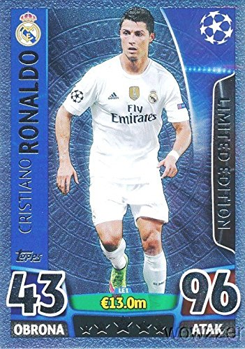 2016 Topps Match Attax Champions League EXCLUSIVE Cristiano Ronaldo Limited Edition SILVER Card! Rare Awesome Special Card Imported from Europe! Shipped in Ultra Pro Top Loader to Protect it ()
