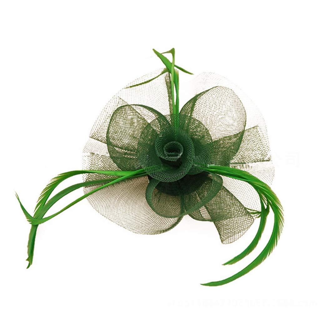 JYDIY Mesh Net Fascinator Hat with Feather Party Church Derby Headdress