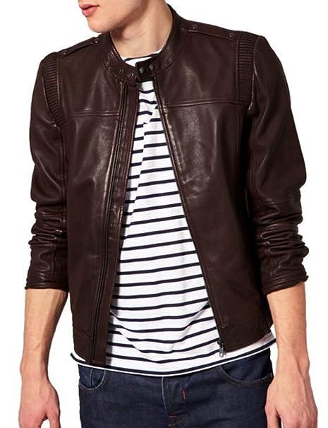 Amazon.com: Mazdurr Outfits - Chaqueta de piel para hombre ...