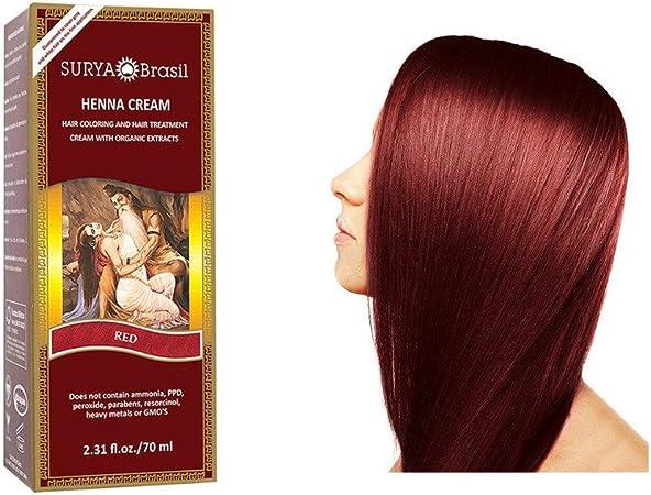 Surya Henna – Tratamiento y coloración para cabello – Brasil Cream – rojo – 70 ml