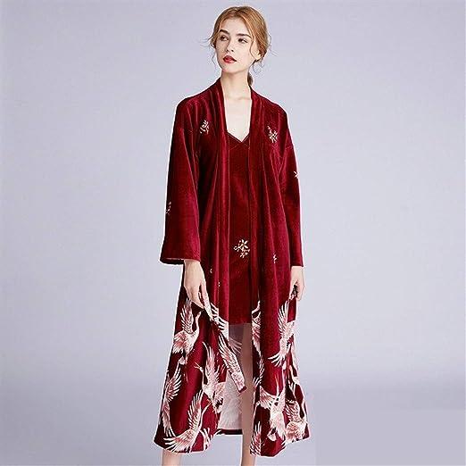 DEI QI Rojo de Moda Oro del Traje del Terciopelo Bordado Vestido ...